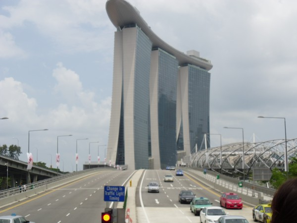 Side view Marina Bay Sands Hotel