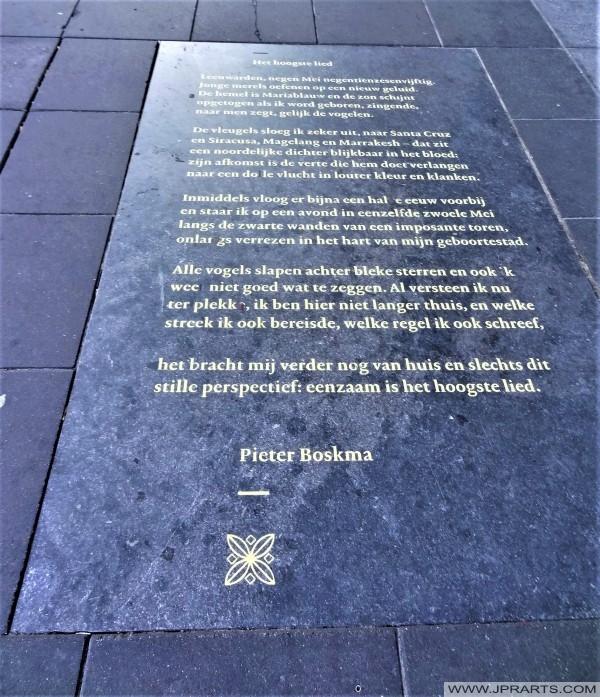 Gedicht Het Hoogste Lied van Pieter Boskma op de Sophialaan in Leeuwarden, Nederland