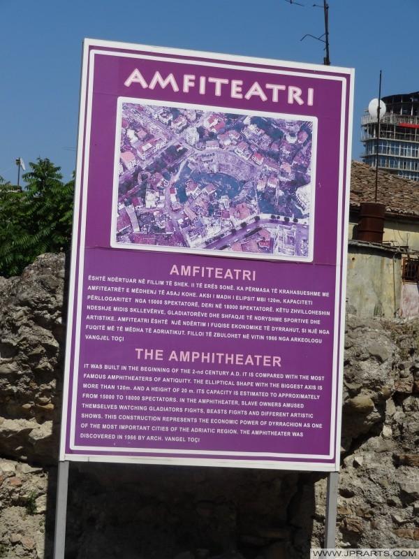 informazioni turistiche segno anfiteatro di Durazzo (Albania)