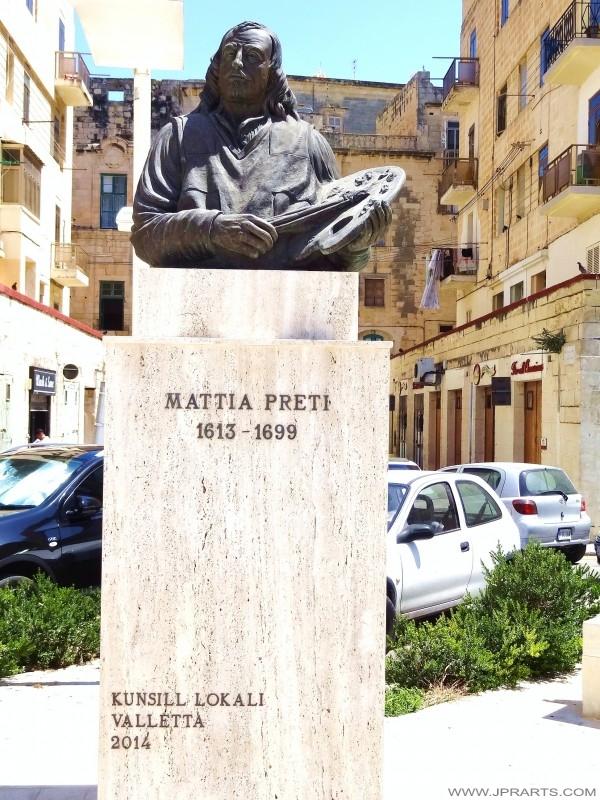 Büste des maltesischen Künstler Mattia Preti (Valletta, Malta)