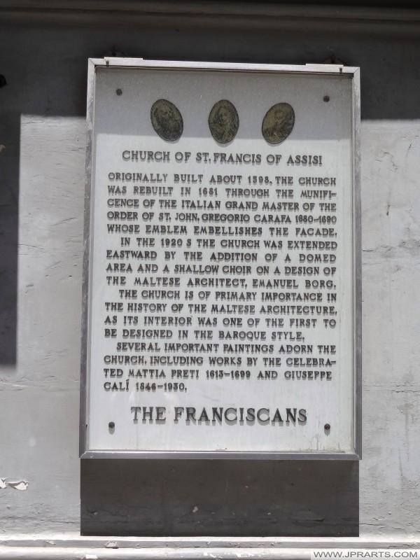 Інформація Святий Франциск Ассизький церкви у Валлетті, Мальта