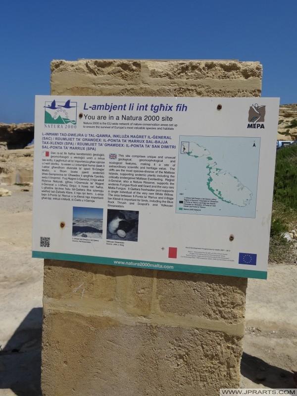 Natura 2000 Site in Dwejra (Gozo, Malta)