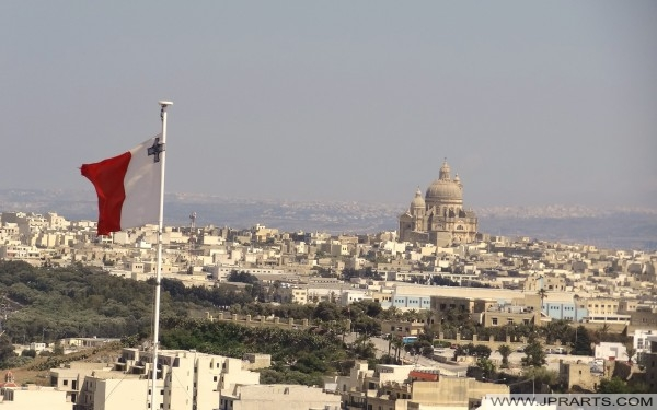 Xewkija Rotunda Kościół scena z Cytadeli Victoria (Rabat), Gozo, Malta