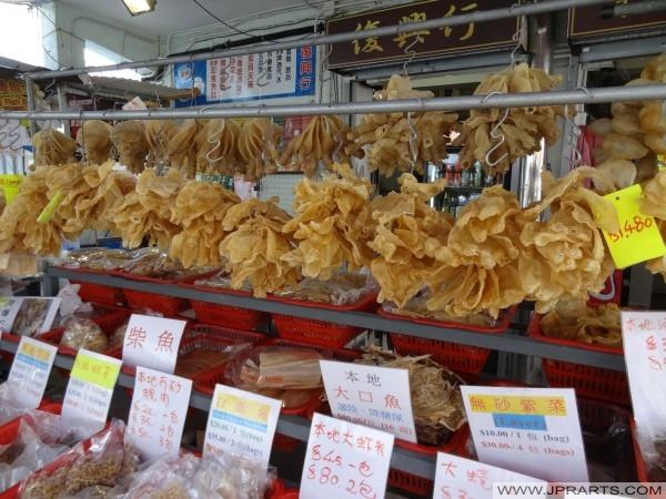 Makanan laut kering di Tai pasaran o ikan, Hong Kong