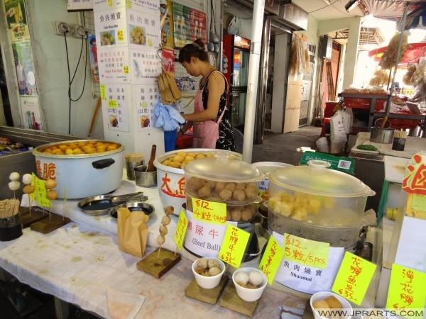 Boulettes de poisson, boulettes de boeuf et shao mai à Tai O, Hong Kong