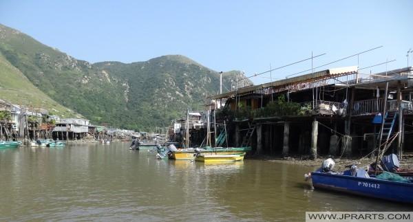 Pfahlbauten in Tai O auf der Westseite der Insel Lantau, Hong Kong