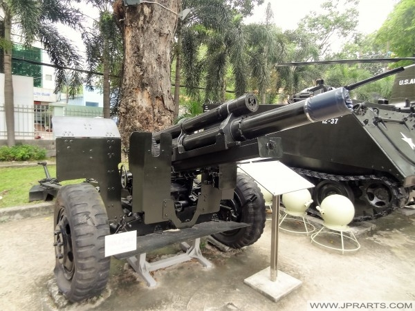 105 mm Howitzer (Shot various kinds of bullets, ordinary exploding bullets, CS gas bullets, smoky, lighting, phosphorescent bullets, anti-tank bullets) - War Remnants Museum in Ho Chi Minh City, Vietnam