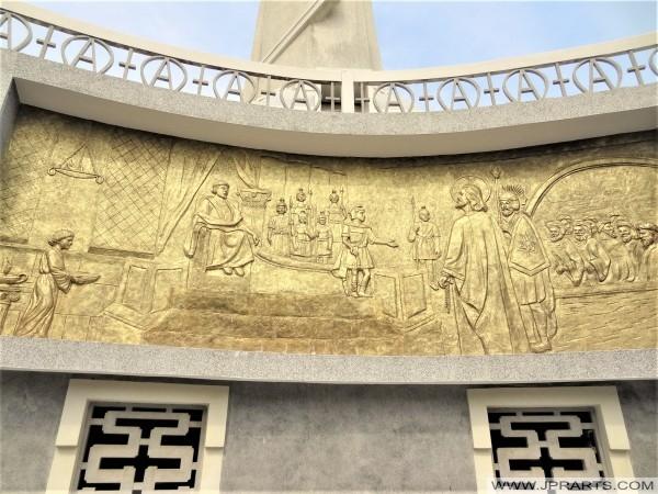 Bassorilievo di Cristo e dei suoi discepoli 12, una replica del dipinto 'Il partito della separazione' di Leonardo da Vinci (Vung Tau, Vietnam)