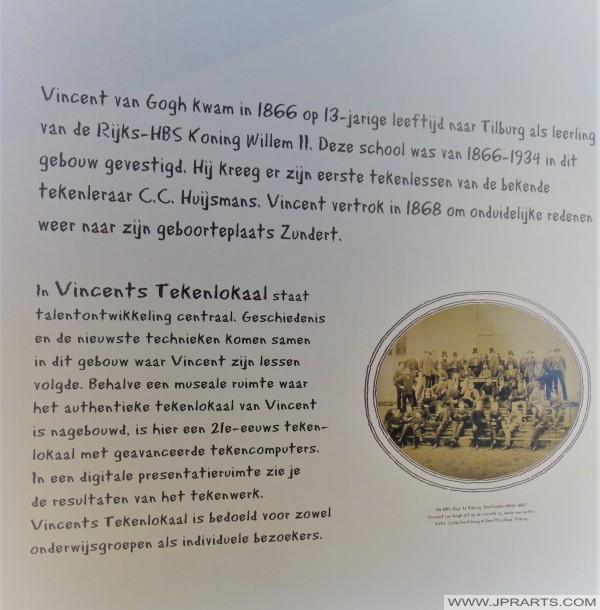 Klassenfoto van Vincent van Gogh uit 1866 in Vincents Tekenlokaal in Tilburg, Nederland