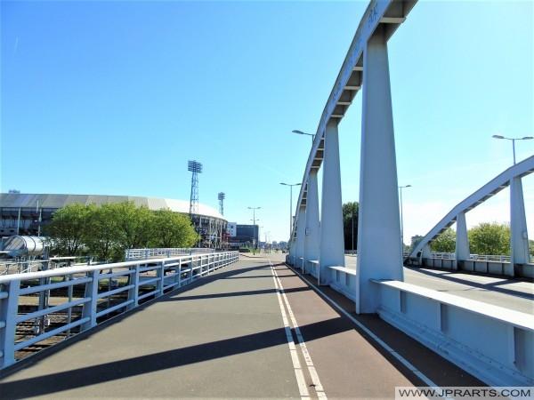 Zicht op de Kuip vanaf het Stadionviaduct in Rotterdam, Nederland