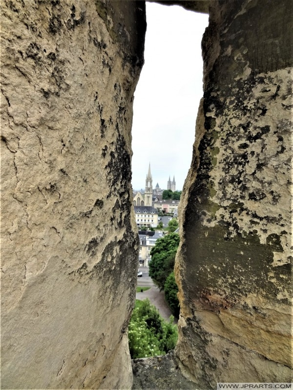 Peephole of Caen Castle in France