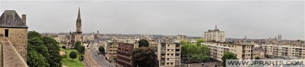 Vue du château sur la ville française de Caen