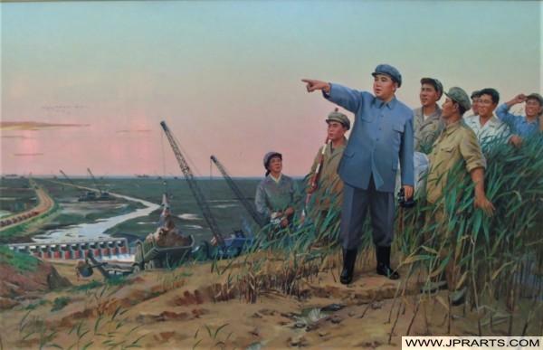 North Korean Painting - Kim Il-sung Looking at Things