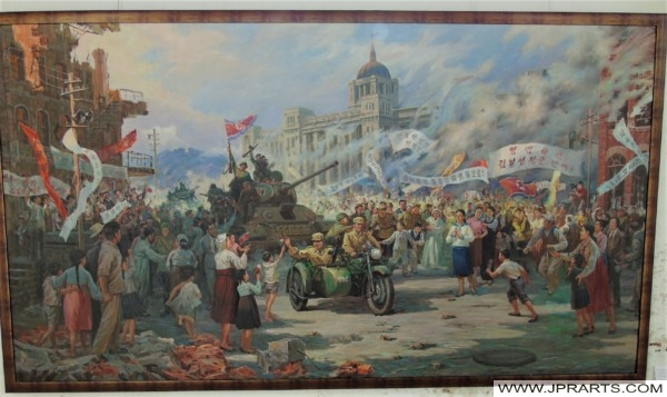 The liberation of Seoul by North Korean troops a few days after the start of the Korean War - North Korean painting