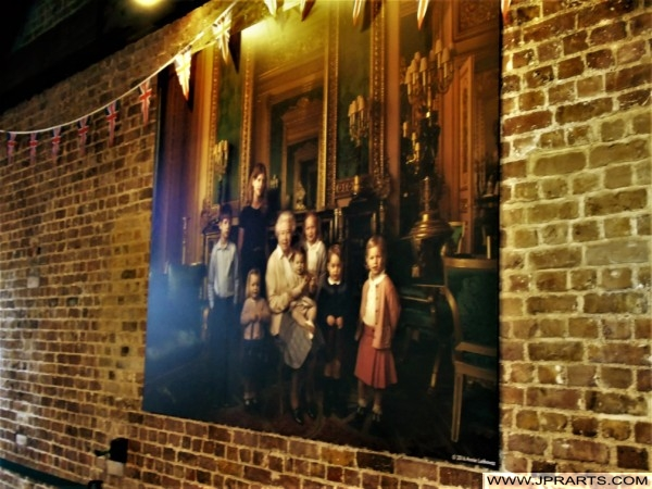 Portrait of Queen Elizabeth II and Behind Grandchildren in Windsor Castle