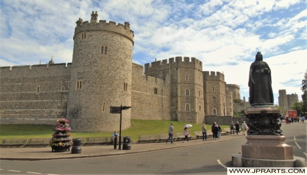 Windsor Castle and Statue of Queen Victoria in Berkshire, UK