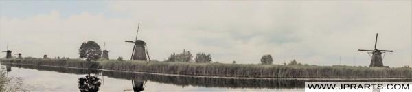 Molens van Kinderdijk in de Alblasserwaard, Nederland