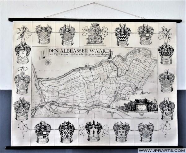 Oude Landkaart van de Alblasserwaard in Nederland