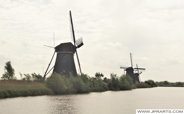 Windmills of Kinderdijk seen from the Tour Boat