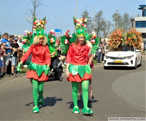 Flower Girls at the Flowers Parade in the Bulb Region, the Netherlands