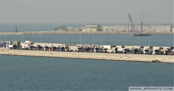 Trucks waiting at the Gate at Khalifa Bin Salman Port in Bahrain