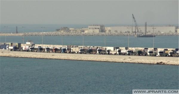 Trucks waiting at the Gate at Khalifa Bin Salman Port in Bahrain